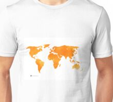 Yellow world map silhouette for sale Unisex T-Shirt