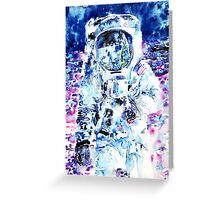 MAN on the MOON - watercolor portrait Greeting Card