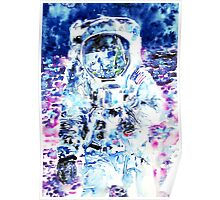 MAN on the MOON - watercolor portrait Poster