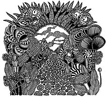 Into The Sun black and white doodle art Photographic Print