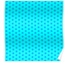 Icy Aqua and Blue Snowflake Pattern Poster