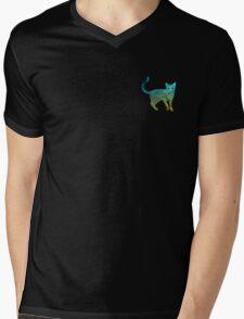 SKY CAT Mens V-Neck T-Shirt