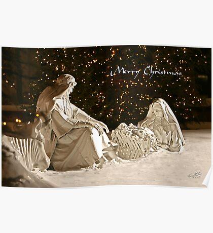 Manger Scene Christmas Card Poster