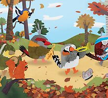 Bird Band Marching Through The Woods by Claire Stamper