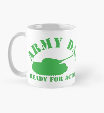 ARMY DAD ready for ACTION with green army tank Mug