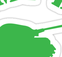 ARMY DAD ready for ACTION with green army tank Sticker