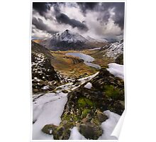 Snowy View of Llyn Idwal Poster