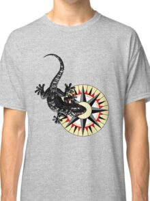 Gecko Lizard On Compass Rose Classic T-Shirt