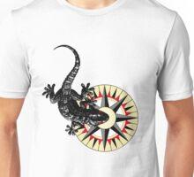 Gecko Lizard On Compass Rose Unisex T-Shirt