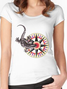 Gecko Lizard on Compass Rose Women's Fitted Scoop T-Shirt