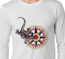 Gecko Lizard on Compass Rose Long Sleeve T-Shirt
