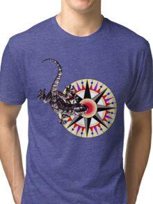 Gecko Lizard on Compass Rose Tri-blend T-Shirt
