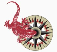 Red Gecko Lizard On Compass Rose T-Shirt