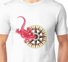 Red Gecko Lizard On Compass Rose Unisex T-Shirt