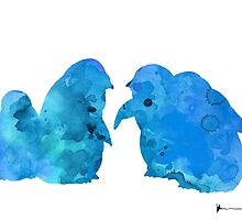 Blue penguins art print watercolor painting by Joanna Szmerdt