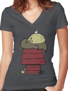 My neighbor Peanut Women's Fitted V-Neck T-Shirt