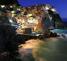 Manarola (Cinque Terre, Italy) by night by Monica Di Carlo