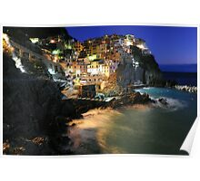 Manarola (Cinque Terre, Italy) by night Poster