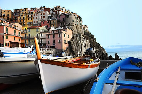 Boats in Vernazza by Monica Di Carlo