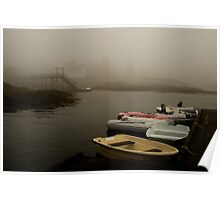 Fog and Dingies in Cape Harbor, Maine, on a Misty Morning Poster