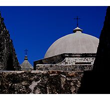 crosses above a mission Photographic Print