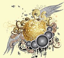 Gold disco ball with wings 2 by AnnArtshock