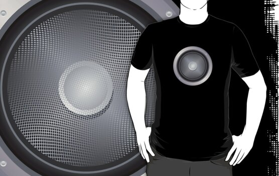 Audio Speaker Print T-Shirt, in 18 Colors