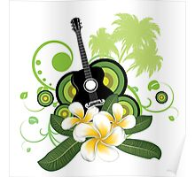 Plumeria flowers and guitar Poster