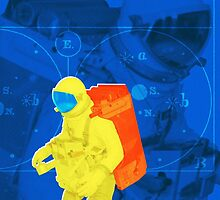 Earth to spaceman... in blue and yellow by kitschstock