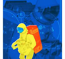 Earth to spaceman... in blue and yellow Photographic Print