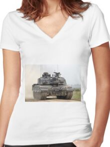 British Army Challenger 2 Main Battle Tank  Women's Fitted V-Neck T-Shirt
