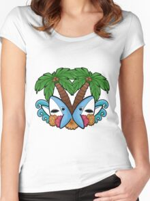 Left and right are in da house! -white- Women's Fitted Scoop T-Shirt