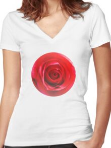 Red rose Close up 2 Women's Fitted V-Neck T-Shirt