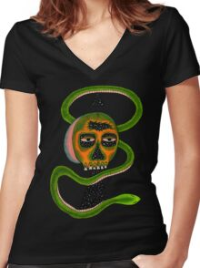 Insane Reptile Brain Women's Fitted V-Neck T-Shirt