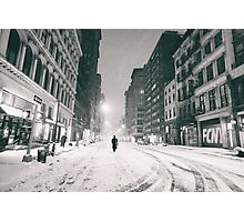 Snowy Night in New York City Photographic Print