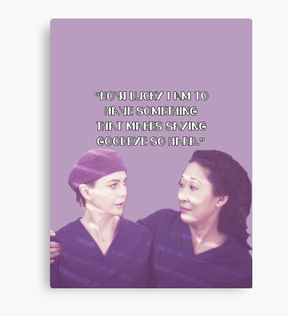 Cristina and Meredith goodbye Canvas Print