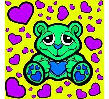 Love Teddy Bear Green and Purple  Photographic Print