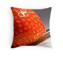 Strawberry served on a fork Throw Pillow
