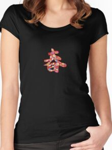 Chinese Calligraphy 'Chun' Spring Flowers T-shirt (Small Print) Women's Fitted Scoop T-Shirt