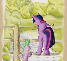 Twilight and Spike in Hundred Acre Wood by dunnowhatowrite