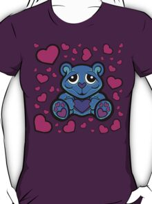 Love Teddy Bear Blue and Pink  T-Shirt