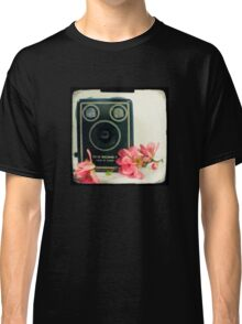 Vintage Kodak Brownie camera with pink apple blossom flowers Classic T-Shirt