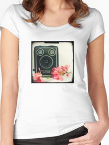 Vintage Kodak Brownie camera with pink apple blossom flowers Women's Fitted Scoop T-Shirt