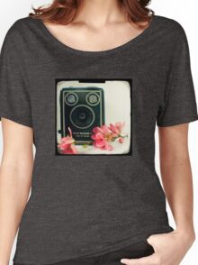 Vintage Kodak Brownie camera with pink apple blossom flowers Women's Relaxed Fit T-Shirt