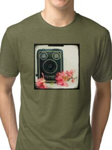 Vintage Kodak Brownie camera with pink apple blossom flowers Tri-blend T-Shirt