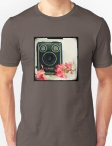 Vintage Kodak Brownie camera with pink apple blossom flowers T-Shirt