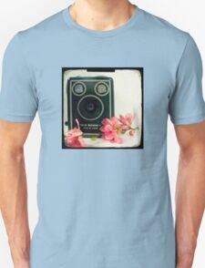 Vintage Kodak Brownie camera with pink apple blossom flowers Unisex T-Shirt