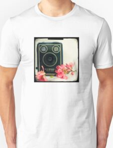 Vintage Kodak Brownie camera with pink apple blossom flowers Unisex T-Shirt