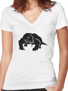 Komodo dragon Women's Fitted V-Neck T-Shirt