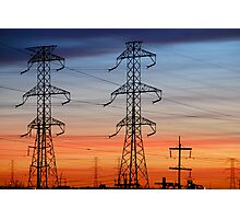Electrical Towers with Colorful Sky Photographic Print